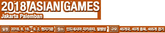 2018 ASIAN GAMES Jakarta Palemban, 일정:2018. 8. 18. ~ 9. 2. 현지기준, 장소:인도네시아 자카르타, 팔렘방, 규모:45개국, 40개 종목, 465개 경기