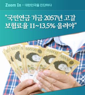 """'""""국민연금 현행 유지 땐 2057년 고갈...보험료율 11∼13.5%로 올려야"""""""