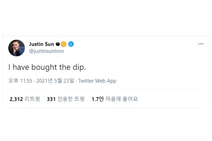 """저스틴 선 """"암호화폐 저점에 매수했다…7,8월 강세장 올 것"""""""